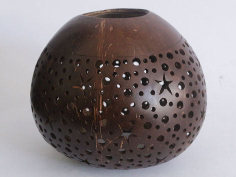 Carved Coconut Shell For T-Light (Brown)