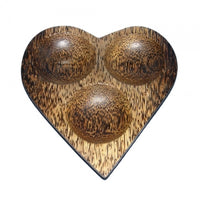 Triple Hole Heart Plate (Palm wood)