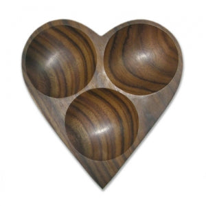 Triple Hole Heart Plate (Rosewood)