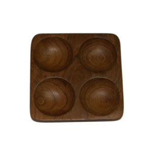 Square Plate with 4 holes (Teak)