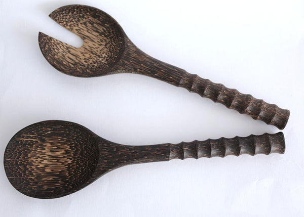 Salad set with carved handle (Palm wood)