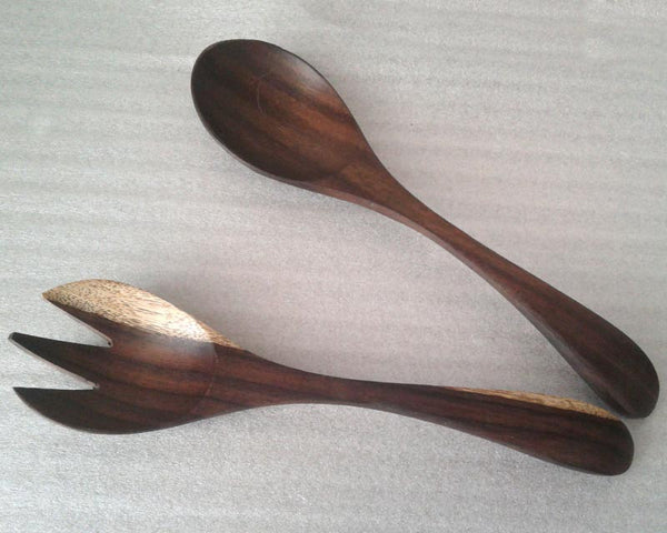 Salad set banded handle (Rosewood)