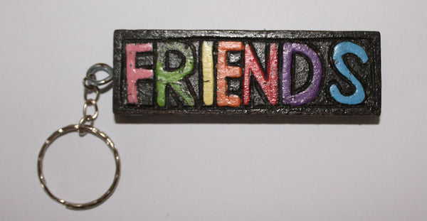 Square Wooden Key Ring (Friends / Family / Kiss / Beach)