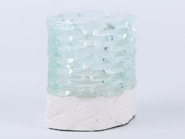 Cutting glass candle holder