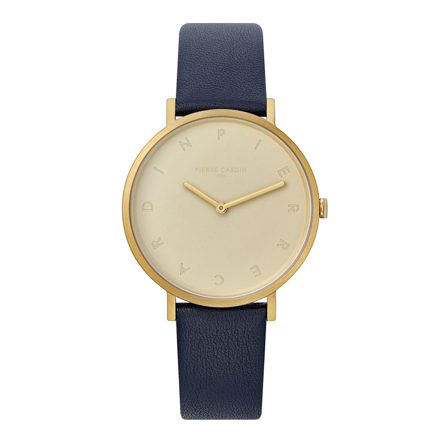 Belleville Tribute Gold Blue Leather Watch