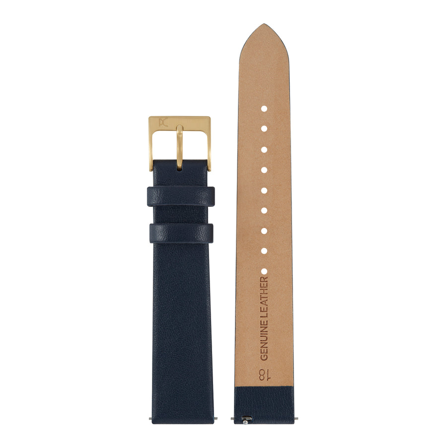 18mm Leather Watch Strap, Dark Blue