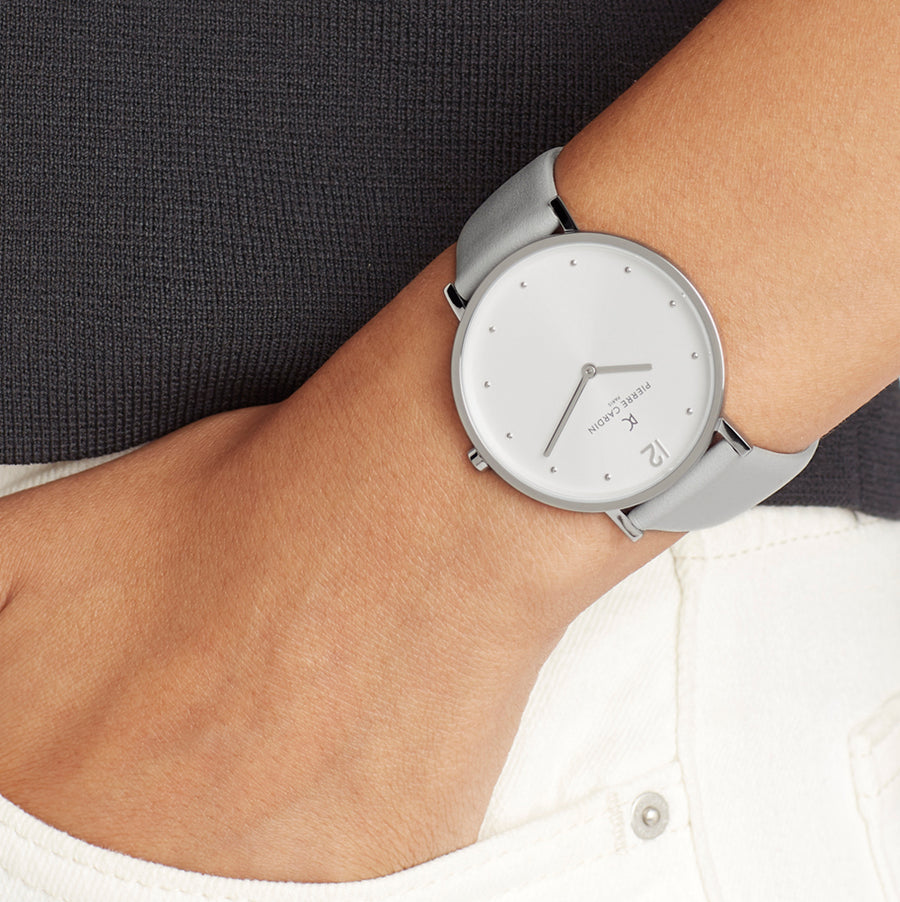 Belleville Simplicity Gray Leather Watch