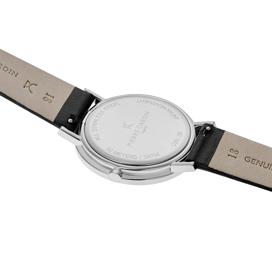 Belleville Simplicity Black Leather Watch