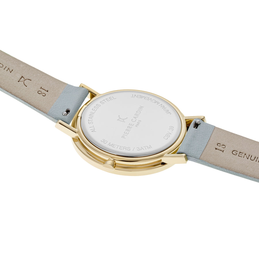 Belleville Simplicity Gold Pastel Green Leather Watch