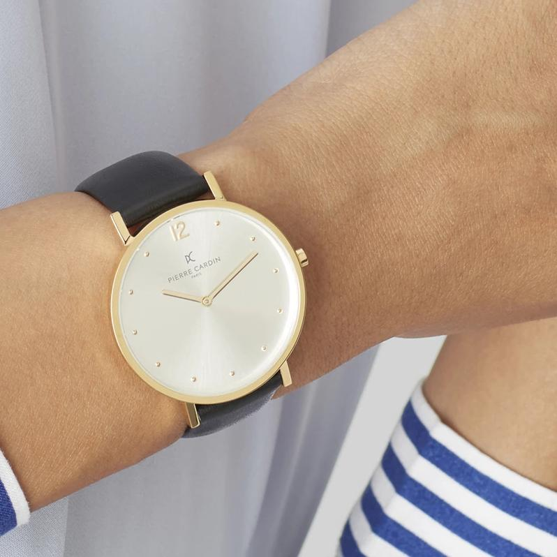 Belleville Simplicity Gold Black Leather Watch