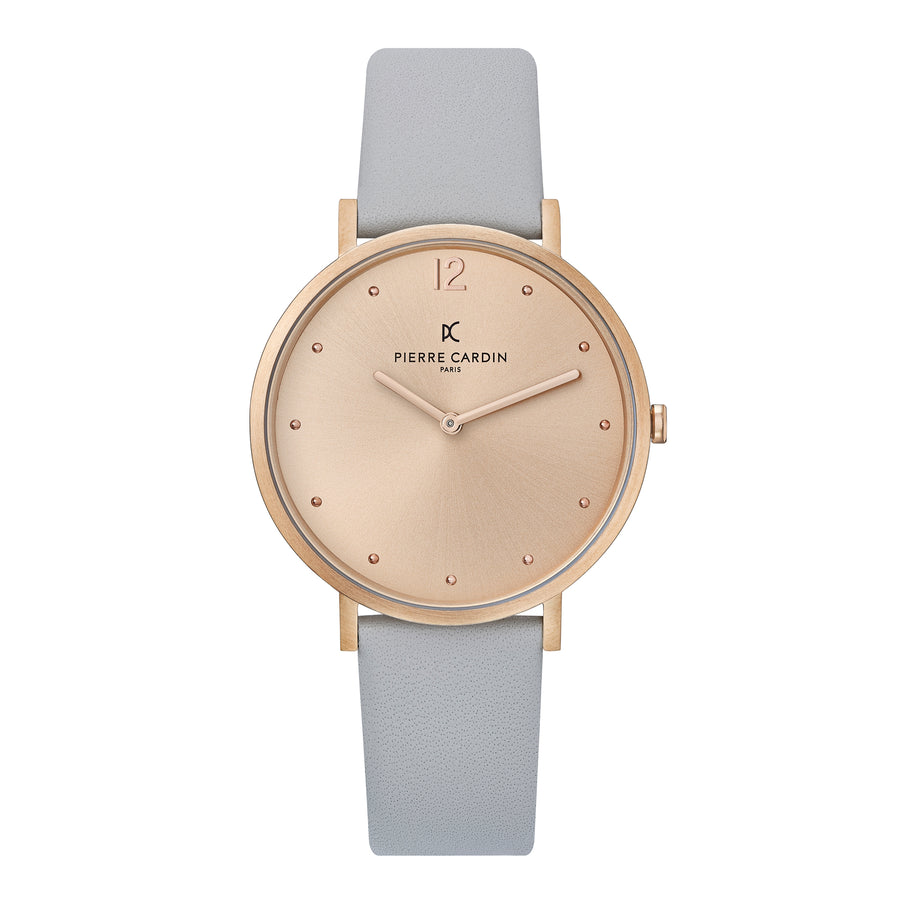 Belleville Simplicity Rose Gold Gray Leather Watch