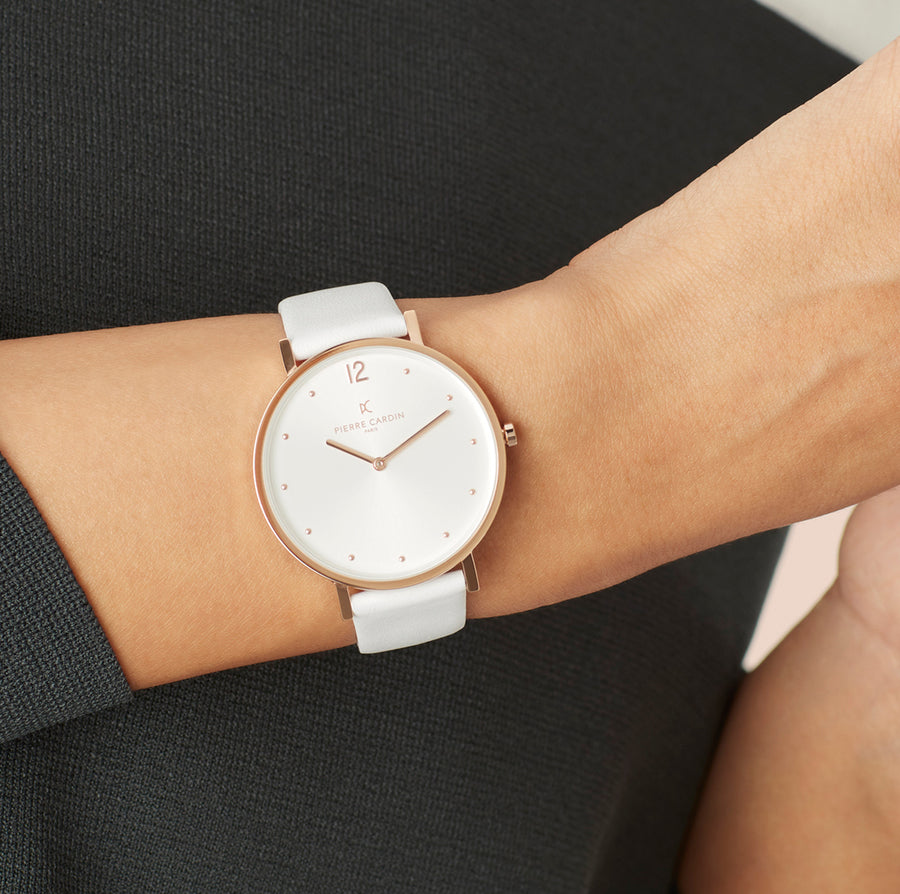 Belleville Simplicity Rose Gold White Leather Watch