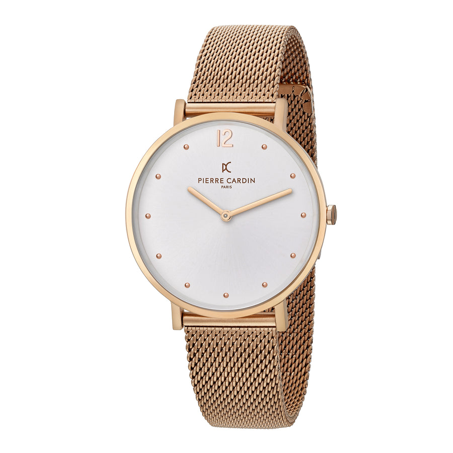 Belleville Simplicity Rose Gold Stainless Steel Mesh Watch