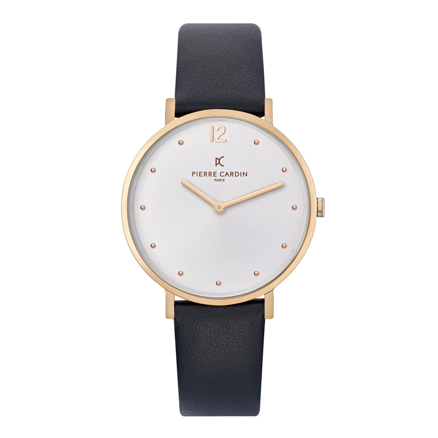 Belleville Simplicity Rose Gold Black Leather Watch