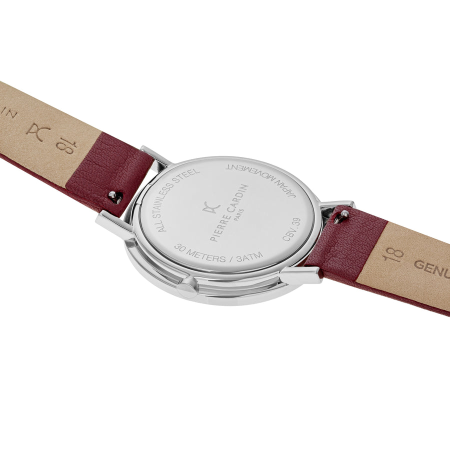 Belleville Simplicity Burgundy Leather Watch
