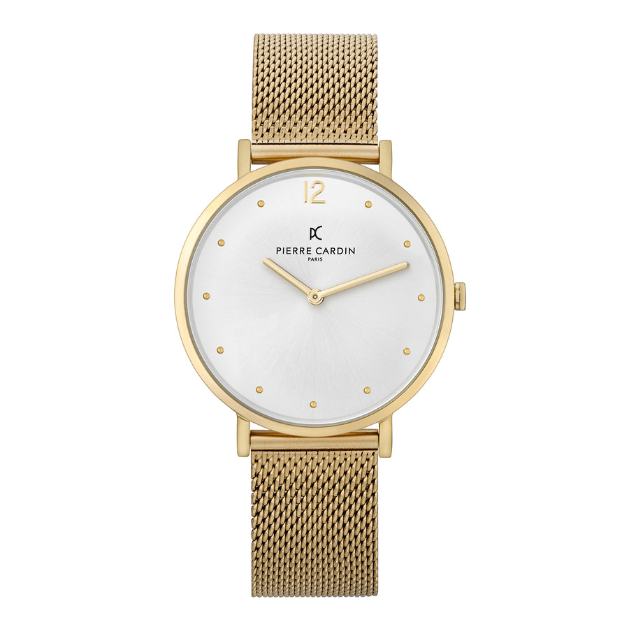 Belleville Simplicity Gold Stainless Steel Mesh Watch