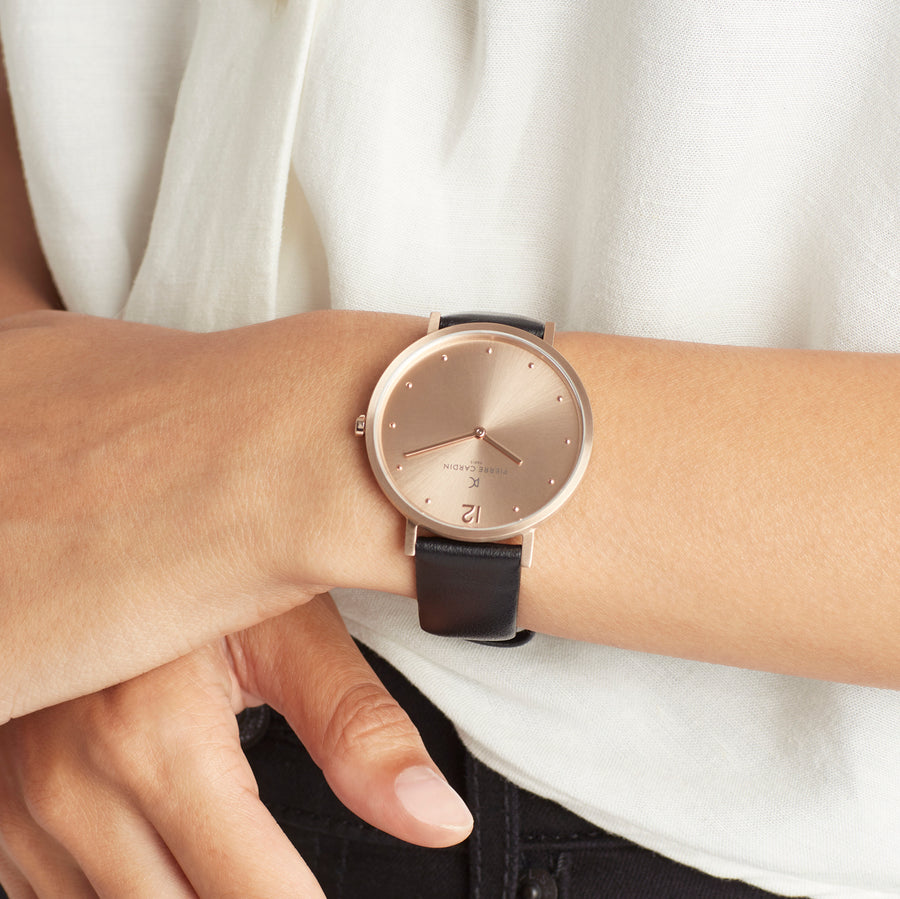 Belleville Simplicity All Rose Gold Black Leather Watch