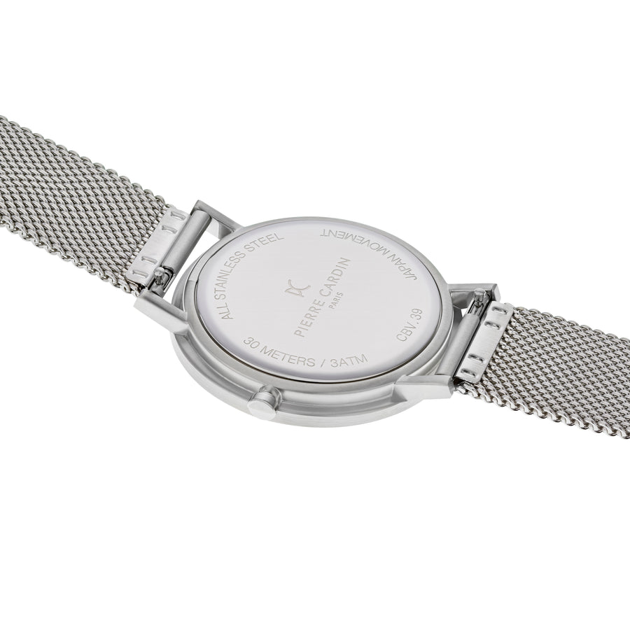 Belleville Simplicity Blue Stainless Steel Mesh Watch
