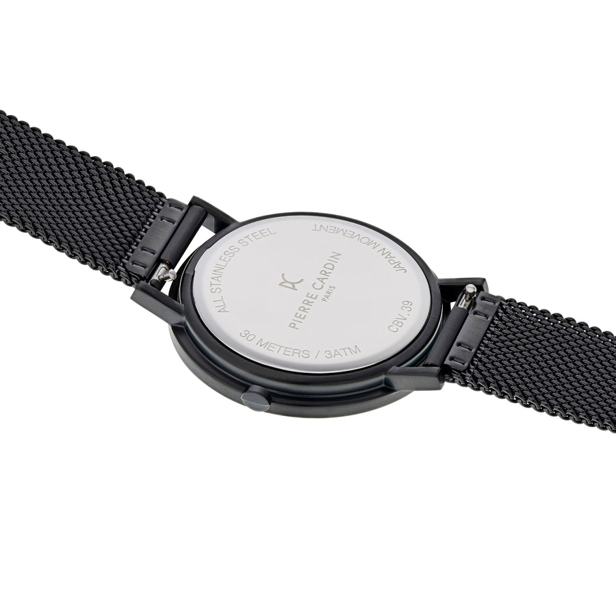 Belleville Simplicity All Black Stainless Steel Mesh Watch