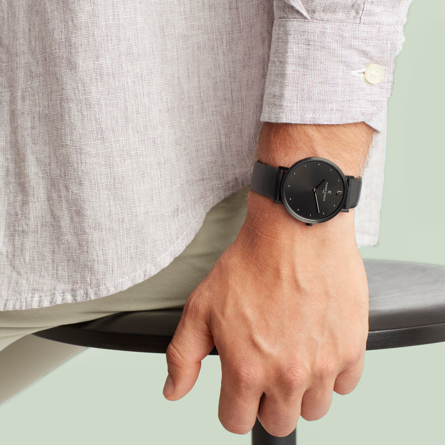 Belleville Simplicity All Black Leather Watch