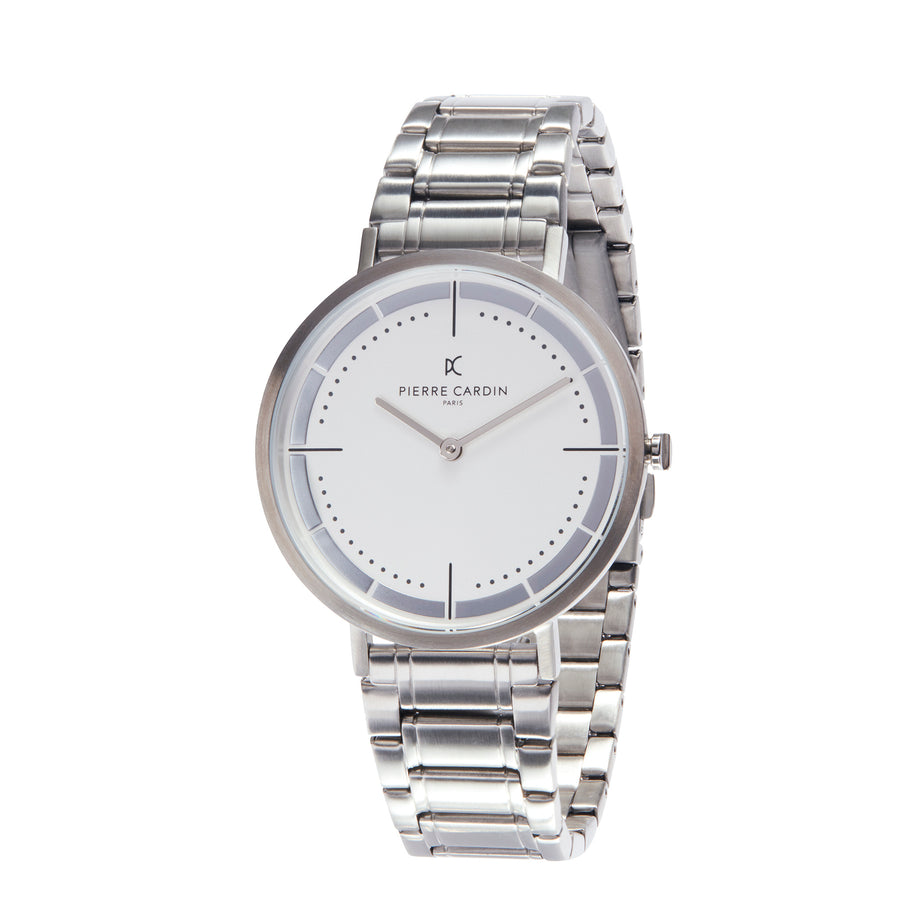 Belleville Park Silver Stainless Steel Link Watch