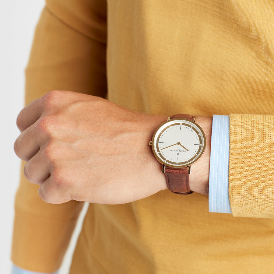 Belleville Park Gold Brown Leather Watch