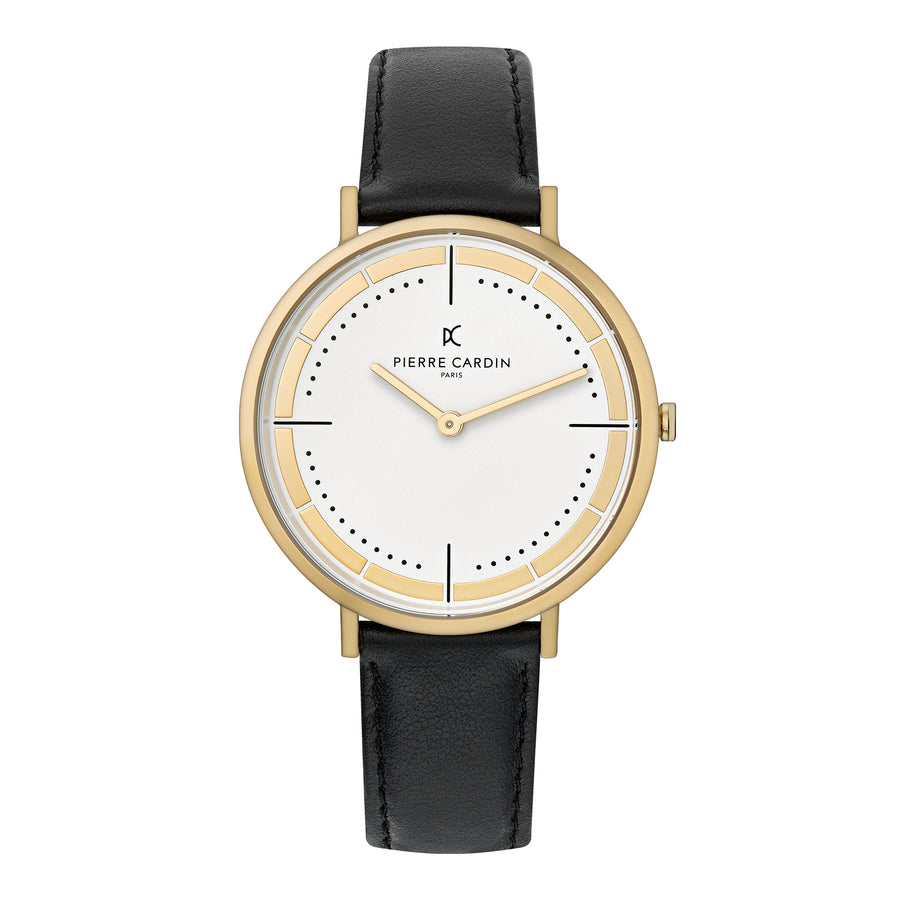Belleville Park Gold Black Leather Watch