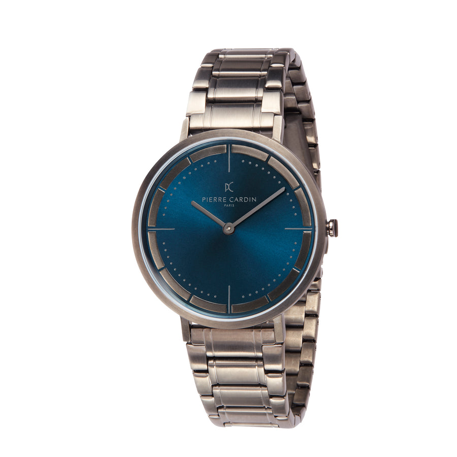 Belleville Park Blue & Gunmetal Stainless Steel Link Watch
