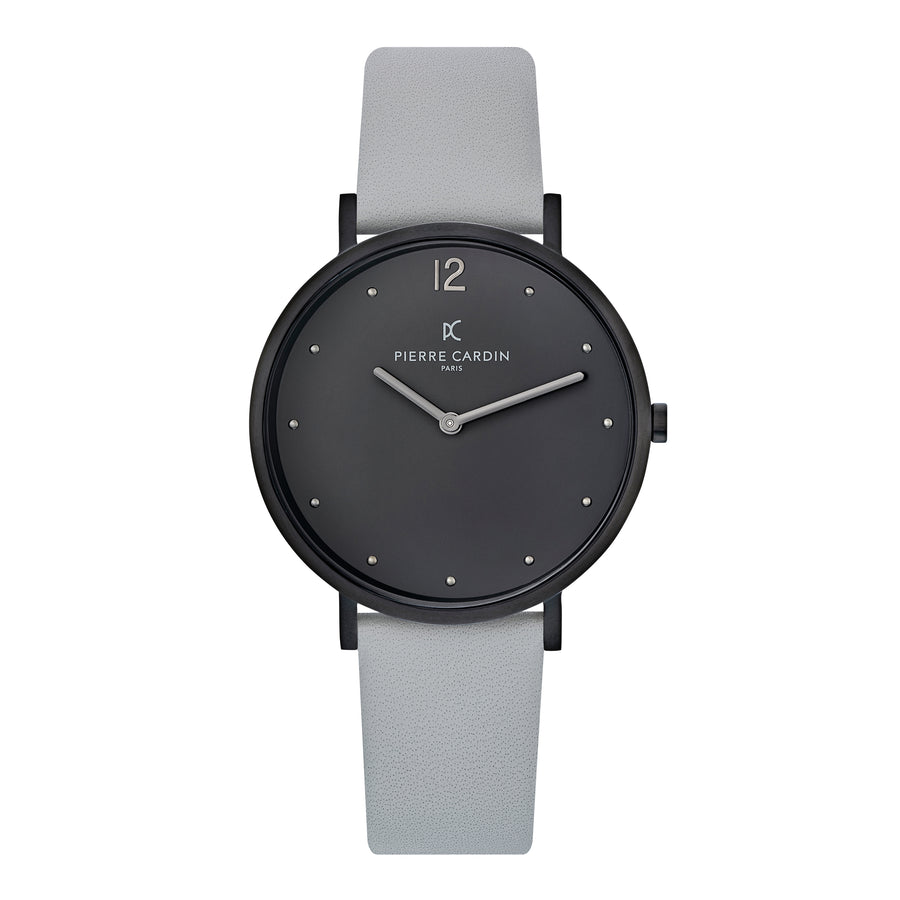 Belleville Simplicity Black Gray Leather Watch