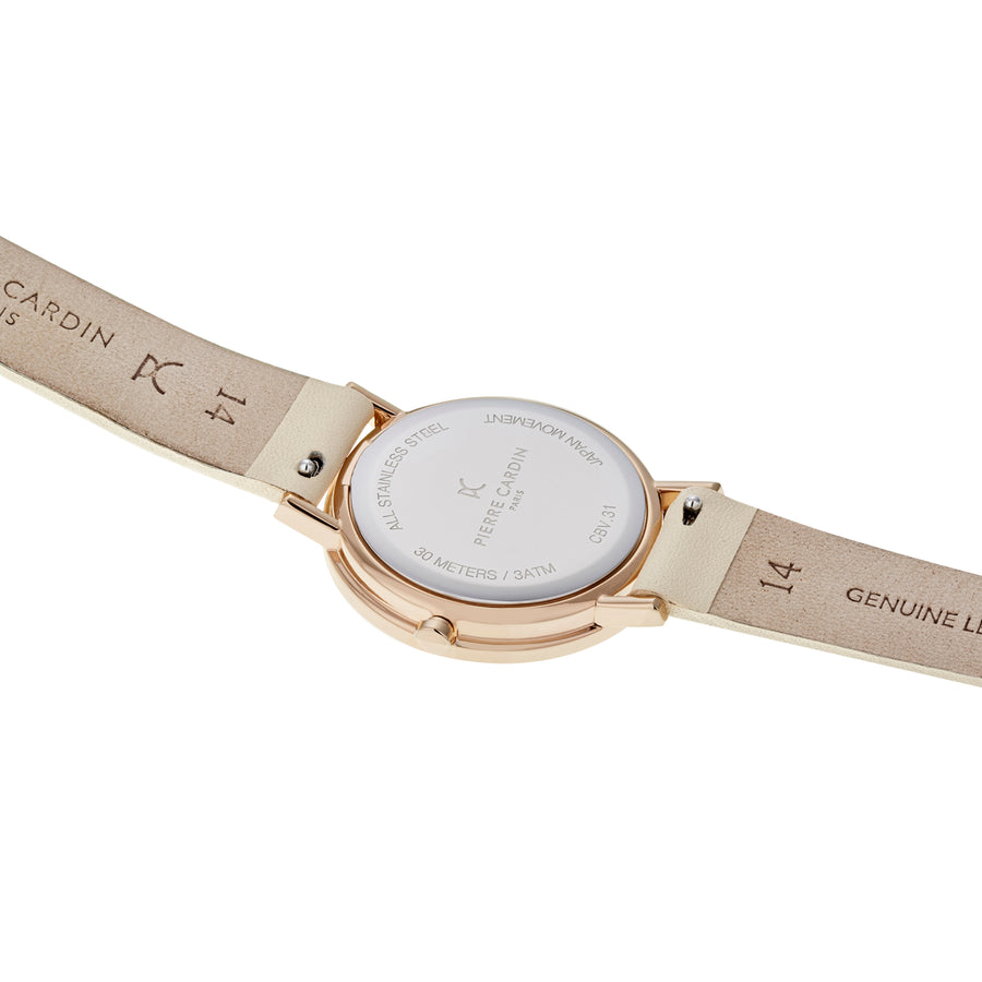 Belleville Monogram Rose Gold Cream Leather Watch