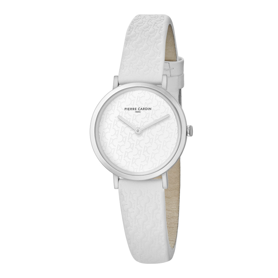 Belleville Monogram All White Leather Watch