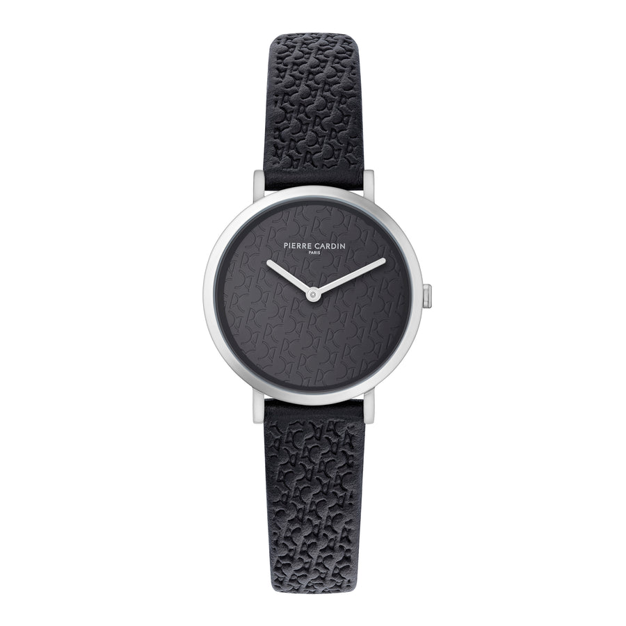 Belleville Monogram All Black Leather Watch
