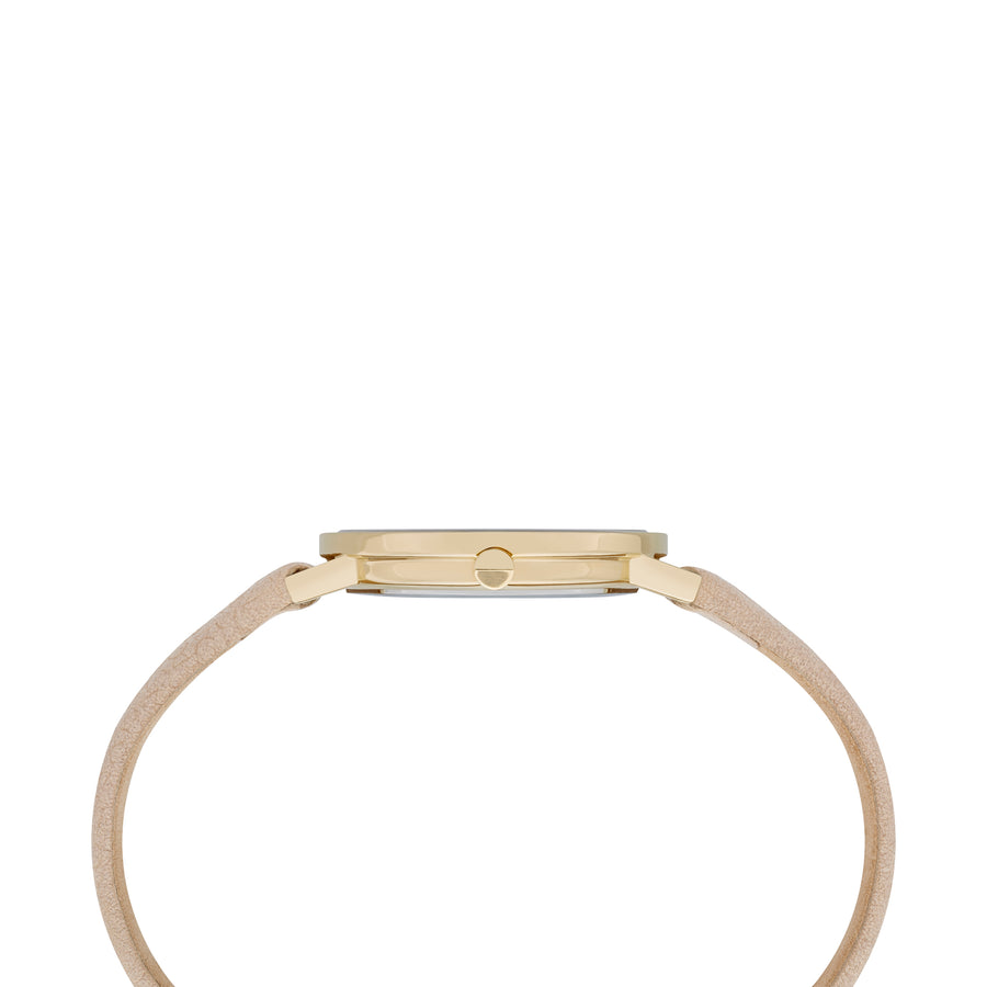 Belleville Monogram Gold Beige Leather Watch