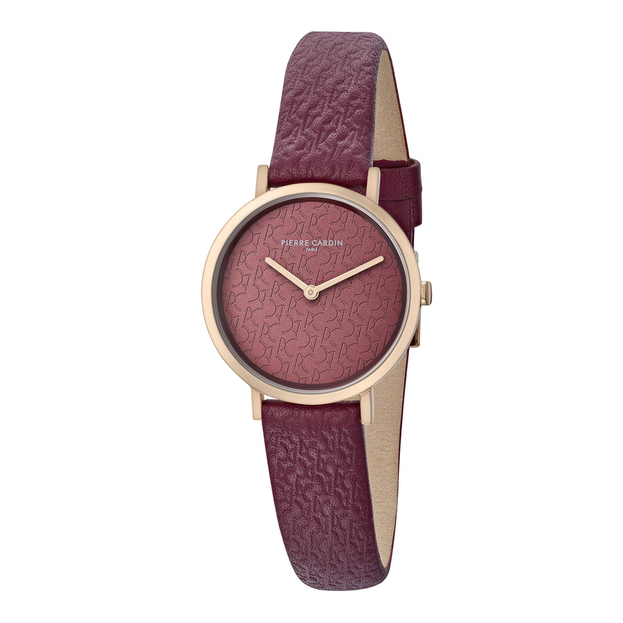 Belleville Monogram Rose Gold Burgundy Leather Watch
