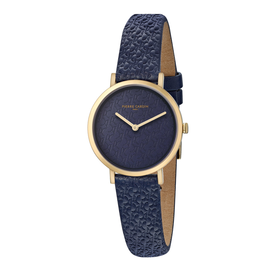 Belleville Monogram Gold Blue Leather Watch