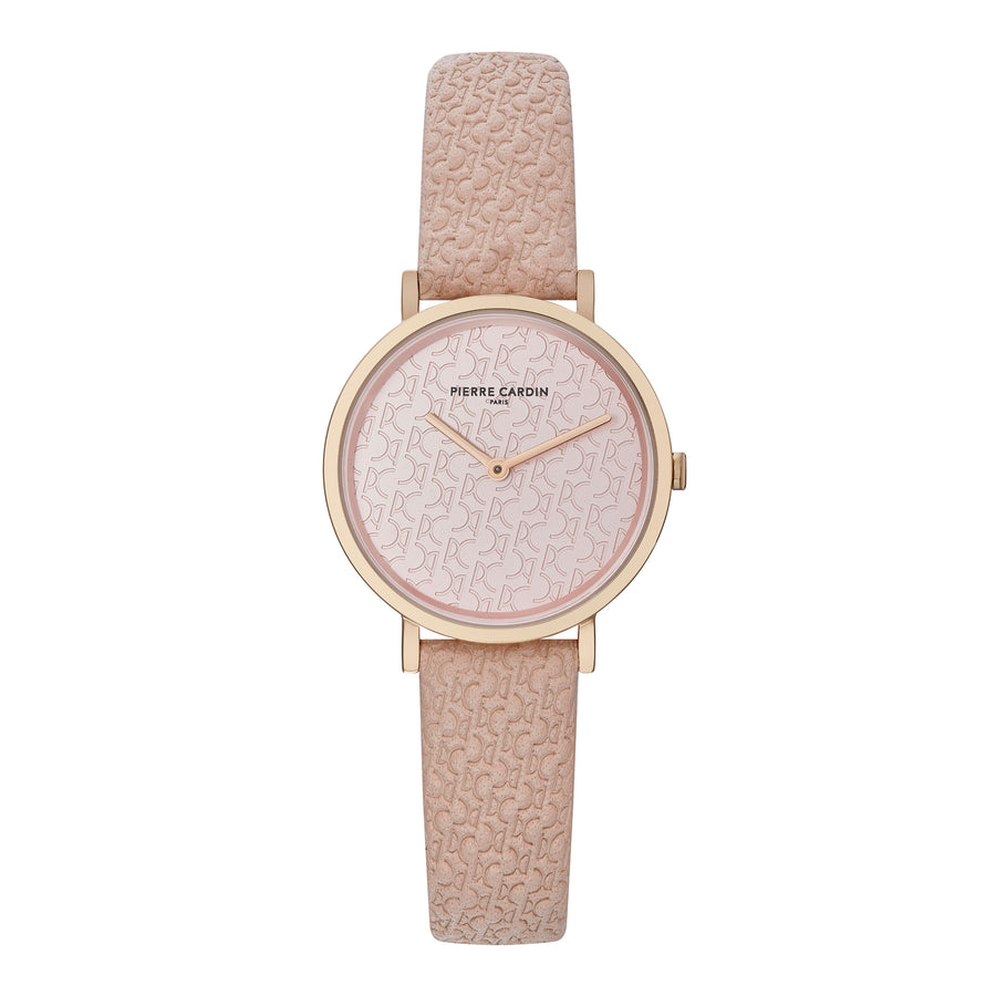Belleville Monogram Rose Gold Leather Watch