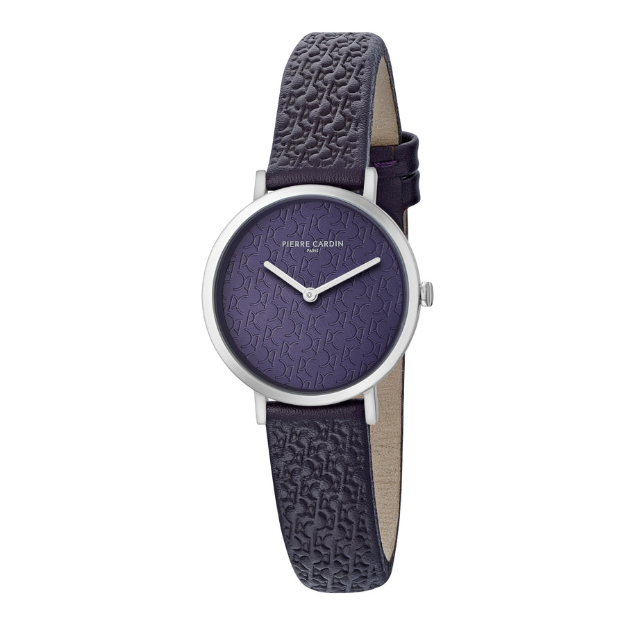 Belleville Monogram Dark Purple Leather Watch