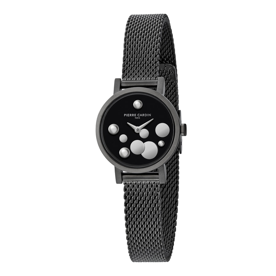 Canal St Martin Pearls All Black Stainless Steel Mesh Watch
