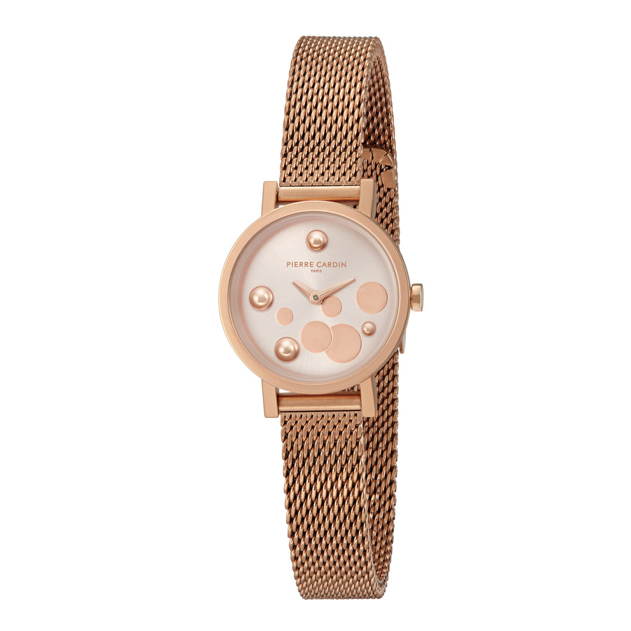 Canal St Martin Pearls All Rose Gold Stainless Steel Mesh Watch