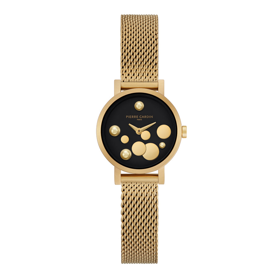 Canal St Martin Pearls Black Gold Stainless Steel Mesh Watch