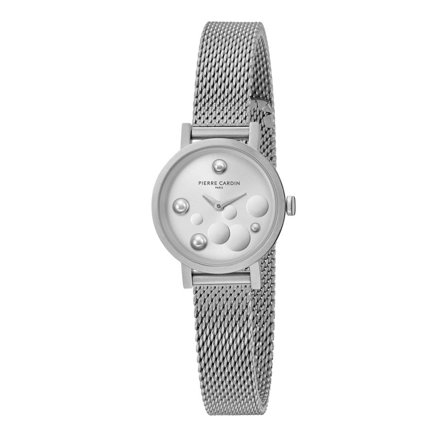 Canal St Martin Pearls Stainless Steel Mesh Watch