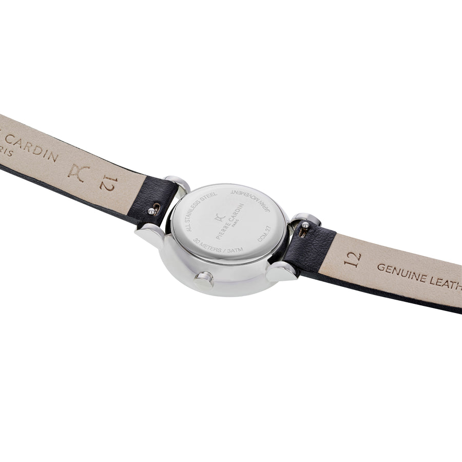 Canal St Martin Pearls Black Leather Watch