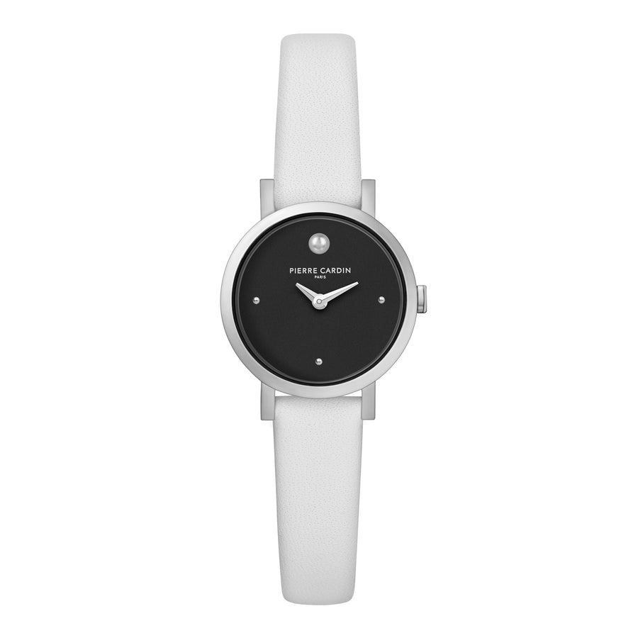 Canal St Martin Pearls Black White Leather Watch