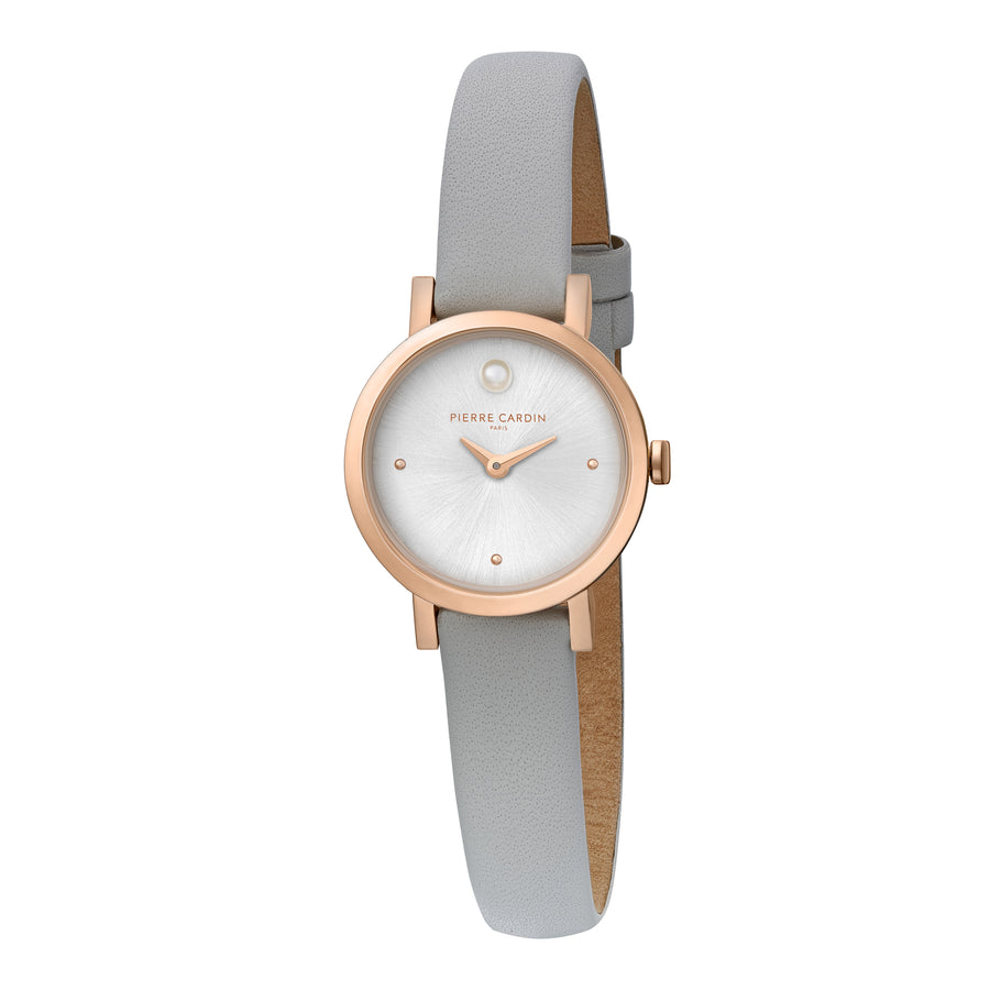 Canal St Martin Pearls Rose Gold Gray Leather Watch