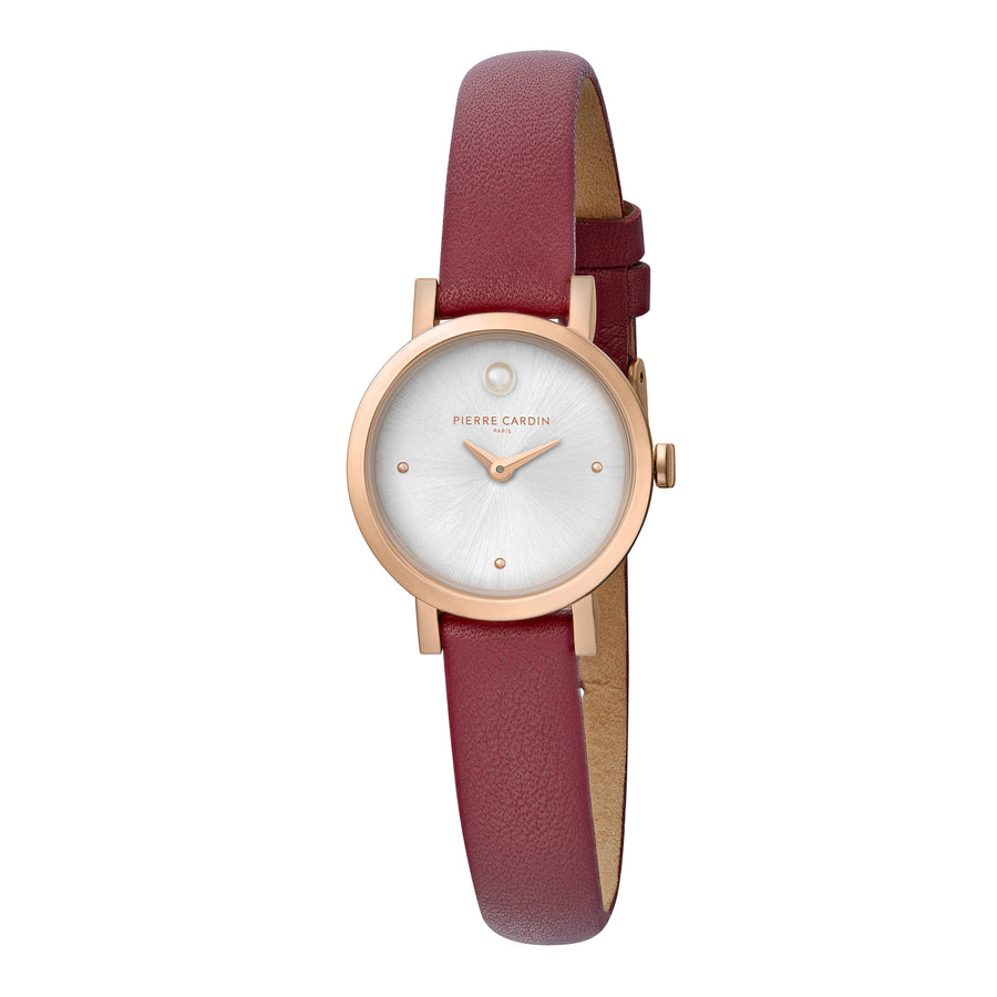 Canal St Martin Pearls Rose Gold Burgundy Leather Watch