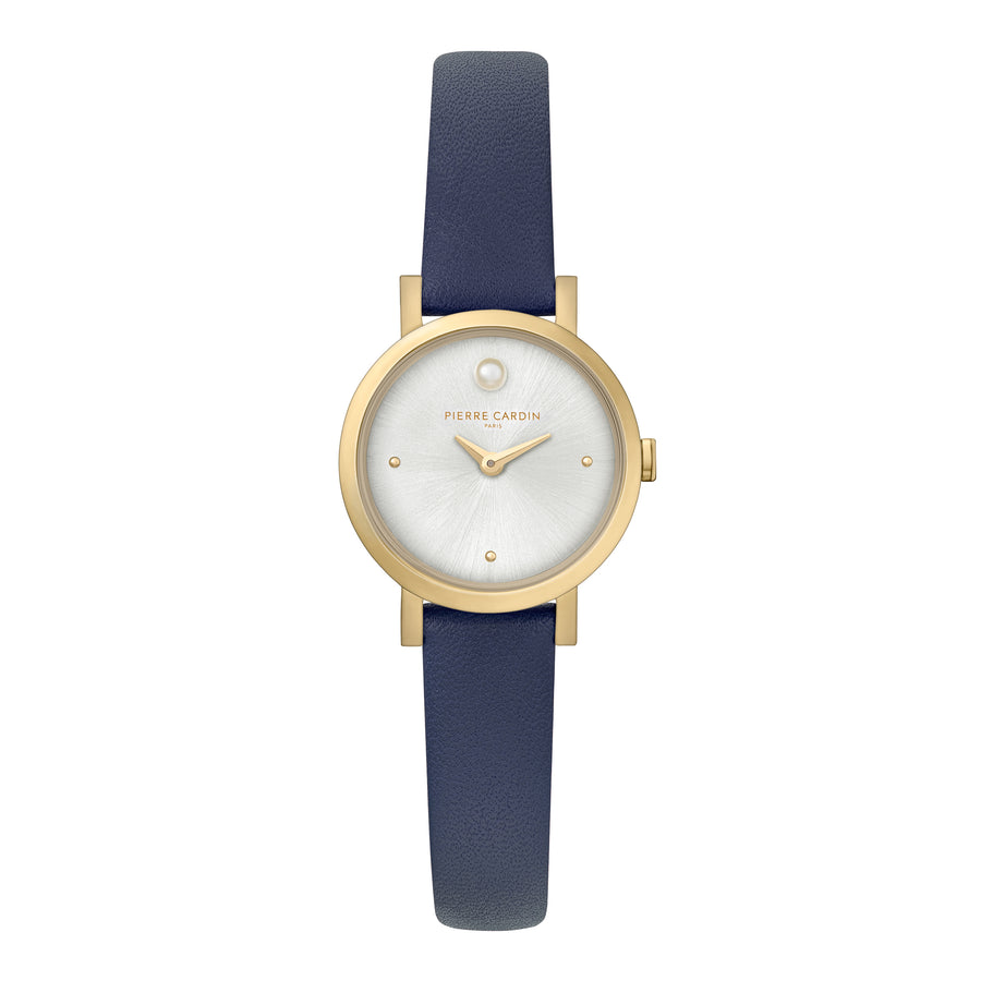 Canal St Martin Pearls Gold Blue Leather Watch