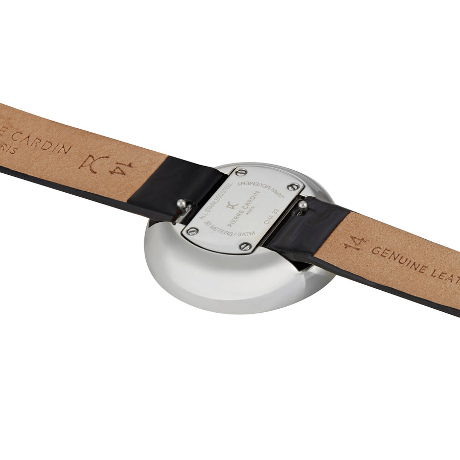 Marais Mirror Black Leather Watch