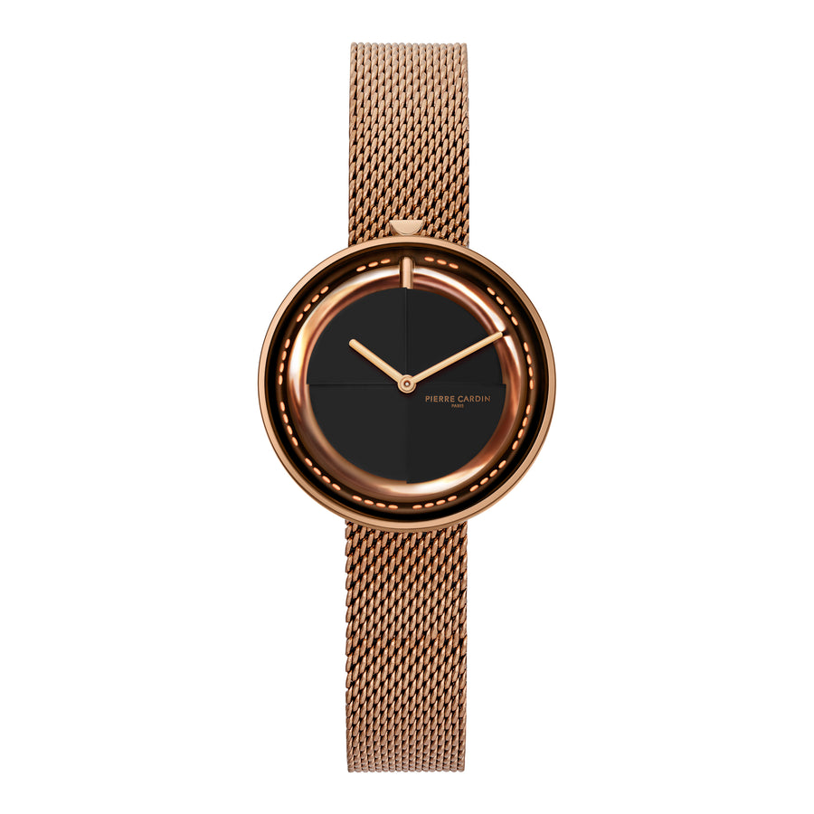 Marais Mirror Black Rose Gold Stainless Steel Mesh Watch