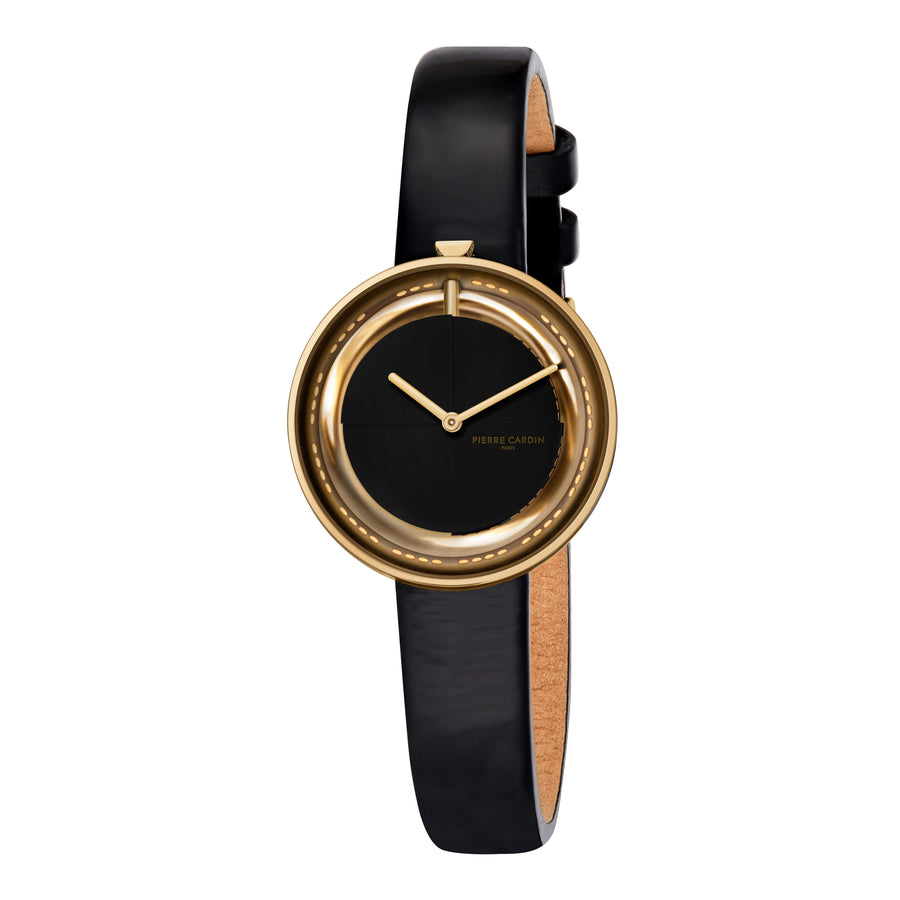 Marais Mirror Gold Black Leather Watch