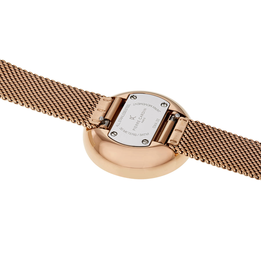 Marais Mirror Red Rose Gold Stainless Steel Mesh Watch